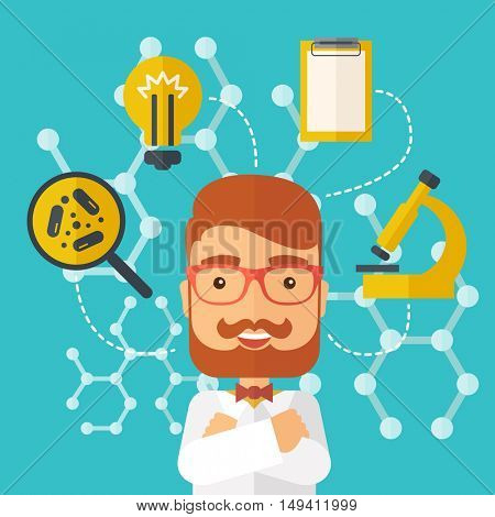 A good looking intelligent man thinks about medical study. A Contemporary style with pastel palette, soft green tinted background.  flat design illustration. Square layout.