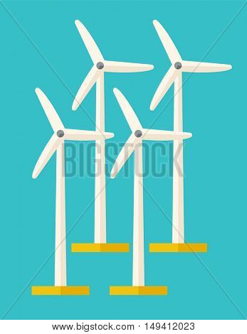 A set of four windmills. A Contemporary style with pastel palette, soft blue tinted background. flat design illustration. Vertical layout.