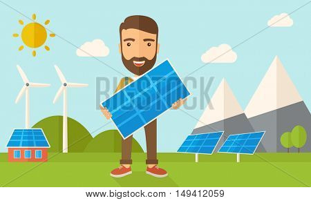 A happy young man standing while holding a solar panel under the heat of the sun. A Contemporary style with pastel palette, soft blue tinted background with desaturated clouds. flat design