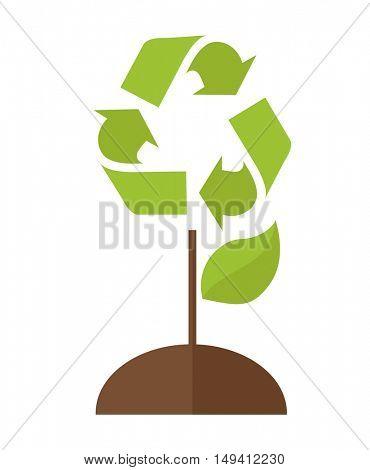 A green tree with recycle symbol to save the planet earth. A Contemporary style. flat design illustration isolated white background. Vertical layout.