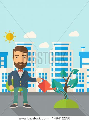 A man watering the growing plant as improving economy. A Contemporary style with pastel palette, soft blue tinted background with desaturated clouds. flat design illustration. Vertical layout with