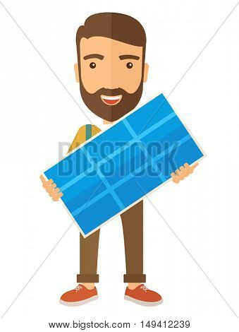 A happy young man standing while holding a solar panel. A Contemporary style. flat design illustration isolated white background. Vertical layout