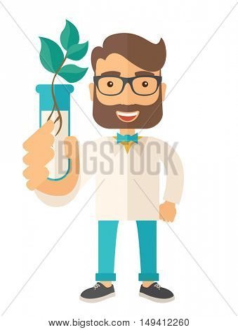 A chemist holding a test tube with eco leaves. A Contemporary style. flat design illustration isolated white background. Vertical layout