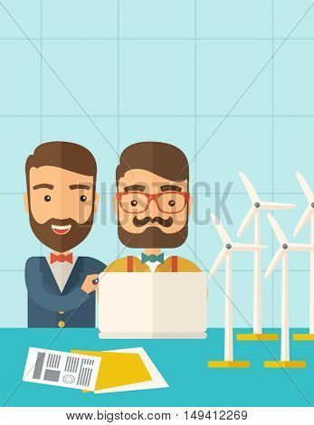 A two caucasian workers using laptop with windmills as power generator.  A Contemporary style with pastel palette, soft blue tinted background. flat design illustration. Vertical layout with text