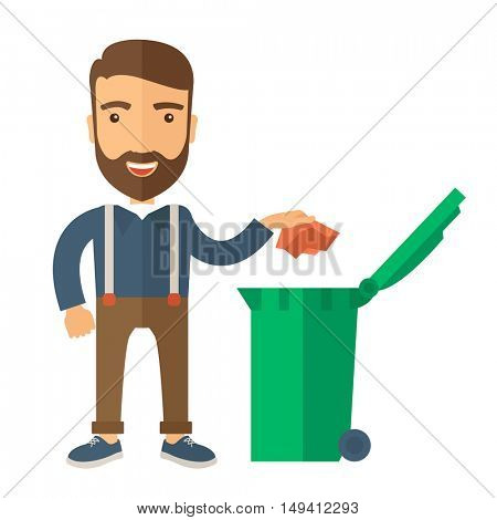 A caucasian man throwing a crumpled paper in a green garbage bin. A Contemporary style. flat design illustration isolated white background. Square layout