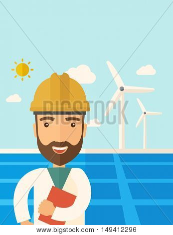 A man wearing hardhat smiling under the heat of the sun with solar panels and windmills. A Contemporary style with pastel palette, soft blue tinted background with desaturated clouds. flat design