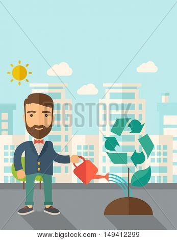 A man watering the green recycle tree to improve the ecology under the sun. A Contemporary style with pastel palette, soft blue tinted background with desaturated clouds. flat design illustration