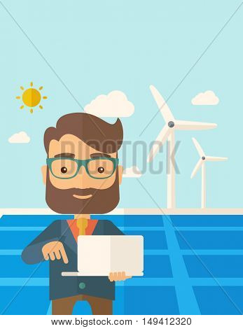 A man with laptop using the solar panel under the sun as power electricity. A Contemporary style with pastel palette, soft blue tinted background with desaturated clouds. flat design illustration