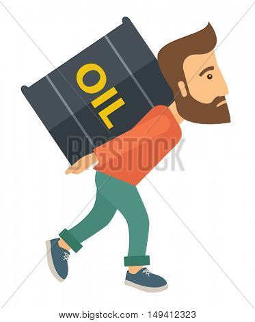 A businessman walking while carrying a heavy barrel of oil for delivery. A Contemporary style. flat design illustration isolated white background. Vertical layout