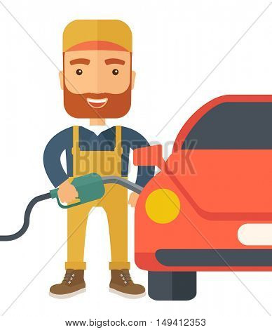 A happy hipster gasoline boy filling up fuel into the car. A Contemporary style. flat design illustration isolated white background. Square layout
