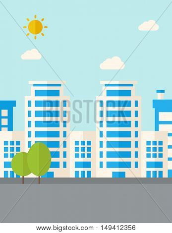 A buildings with trees under the sun. A Contemporary style with pastel palette, soft blue tinted background with desaturated clouds. flat design illustration. Vertical layout.