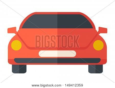A red sports car. A Contemporary style. flat design illustration isolated white background. Horizontal layout