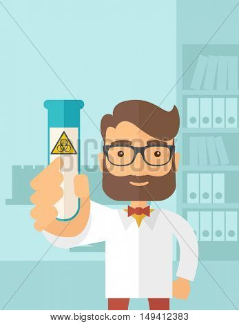 A young Scientists experimenting with glass tube inside the laboratory. A Contemporary style with pastel palette, soft blue tinted background. flat design illustration. Vertical layout.