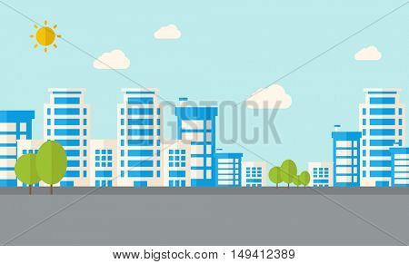 A buildings with trees under the sun. A Contemporary style with pastel palette, soft blue tinted background with desaturated clouds. flat design illustration. Horizontal layout.