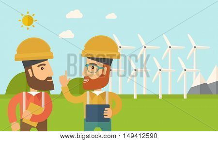 A two workers wearing hard hat talking infront of windmills under the sun. A Contemporary style with pastel palette, soft blue tinted background with desaturated clouds. flat design illustration