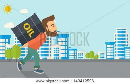 A businessman walking while carrying a heavy barrel of oil for delivery. A Contemporary style with pastel palette, soft blue tinted background with desaturated clouds. flat design illustration