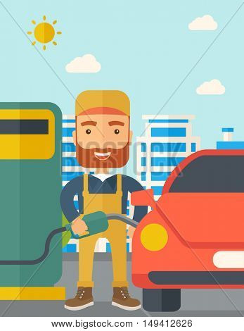 A happy hipster gasoline boy filling up fuel into the car. A Contemporary style with pastel palette, soft blue tinted background with desaturated clouds. flat design illustration. Vertical layout.