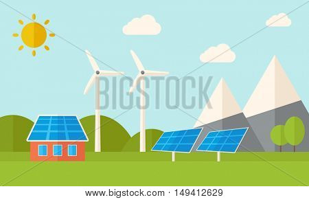 A house with alternative energy consumption, solar panel and wind mills. A Contemporary style with pastel palette, soft blue tinted background with desaturated clouds. flat design illustration