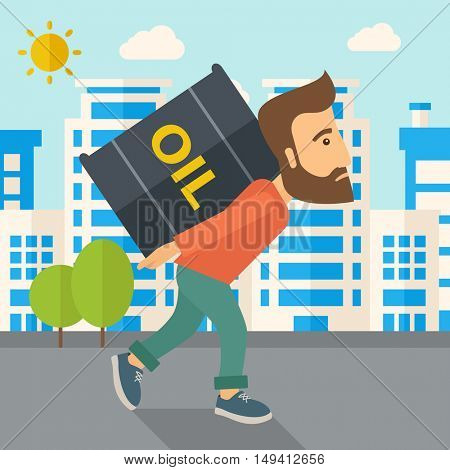 A businessman walking while carrying a heavy barrel of oil for delivery. A Contemporary style with pastel palette, soft blue tinted background with desaturated clouds. flat design illustration. Square
