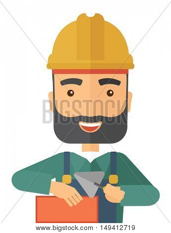 A happy construction mason worker with trowel in hand wearing hard hat. A Contemporary style. flat design illustration isolated white background. Vertical layout.