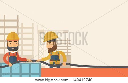 A two hipster builders wearing hard hat for their safety ladders use for construction. A Contemporary style with pastel palette, soft beige tinted background. flat design illustration. Horizontal