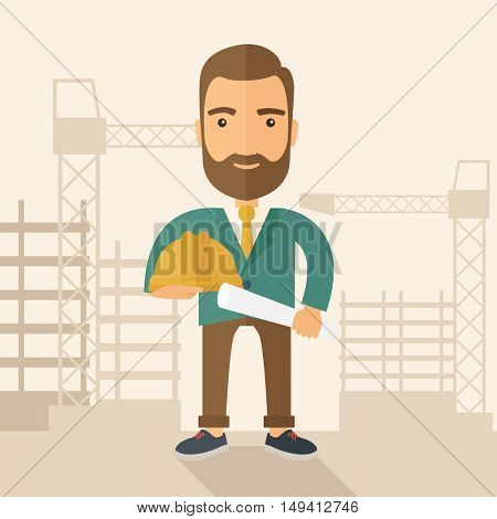 A happy young construction worker holding hard hat and blueprint plan. A Contemporary style with pastel palette, soft beige tinted background. flat design illustration. Square layout.