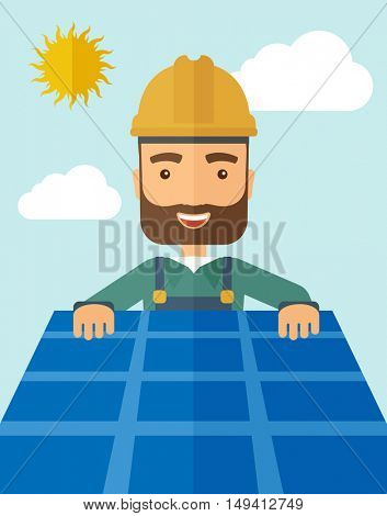 A man putting a solar panel on the roof as a alternative energy system. A Contemporary style with pastel palette, soft blue tinted background with desaturated cloud.  flat design illustration