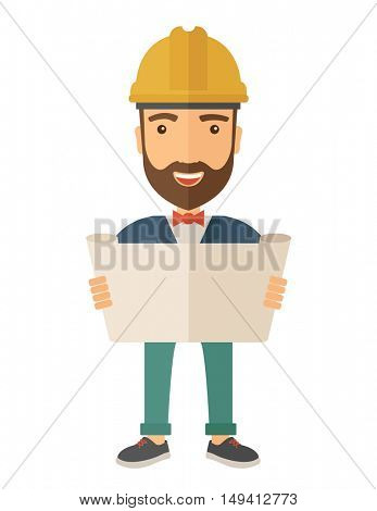 A young hipster engineer holding while reviewing the construction plan. A Contemporary style. flat design illustration isolated white background. Vertical layout.