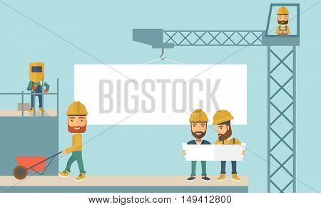 A experienced team workers with white board wearing helmets . A Contemporary style with pastel palette, soft blue tinted background. flat design illustration. Horizontal layout.