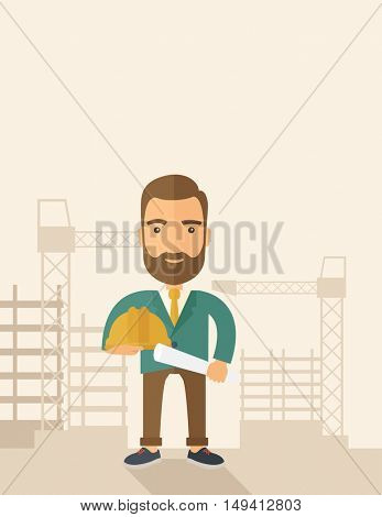 A happy young construction worker holding hard hat and blueprint plan. A Contemporary style with pastel palette, soft beige tinted background. flat design illustration. Vertical layout with text sapce