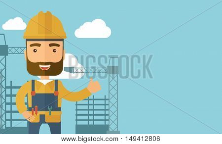 A construction worker standing with crane tower background. A Contemporary style with pastel palette, soft blue tinted background with desaturated clouds. flat design illustration. Horizontal layout