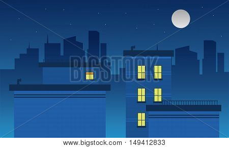 Silhouette of city and moon landscape vector illustration