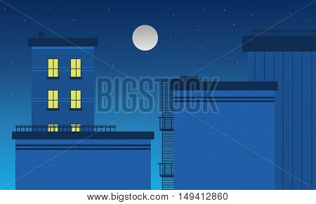 Building landscape at night vector art of silhouette