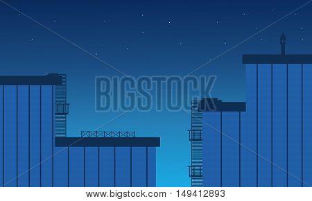 Flat design building landscape at night vetcor art illustration