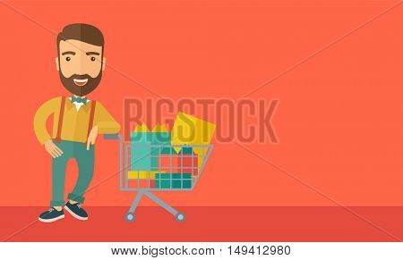 A happy man standing with his shopping cart. A Contemporary style with pastel palette, soft orange tinted background. flat design illustrations. Horizontal layout with text space in right side.