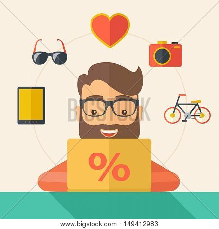 Man making a purchase using laptop with internet in online shopping with promo discount. A Contemporary style with pastel palette, soft beige tinted background. flat design illustration. Square layout