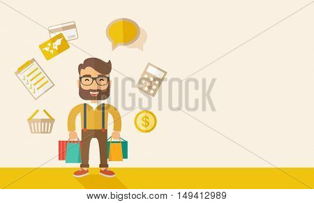 A funny businessman with shopping bags and checklist, calculator, basket, credit card and money around. A Contemporary style with pastel palette, soft beige tinted background. flat design illustration