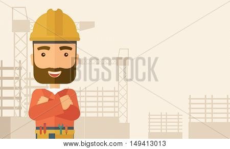 A hipster construction worker wearing hard hat for protection of his head. Working concept. A Contemporary style with pastel palette, soft beige tinted background. flat design illustration. Horizontal