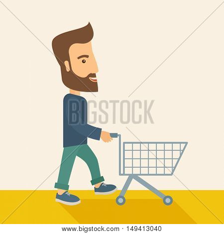 A handsome guy pushing an empty cart. A Contemporary style with pastel palette, soft beige tinted background. flat design illustration. Square layout with text space on top right part.