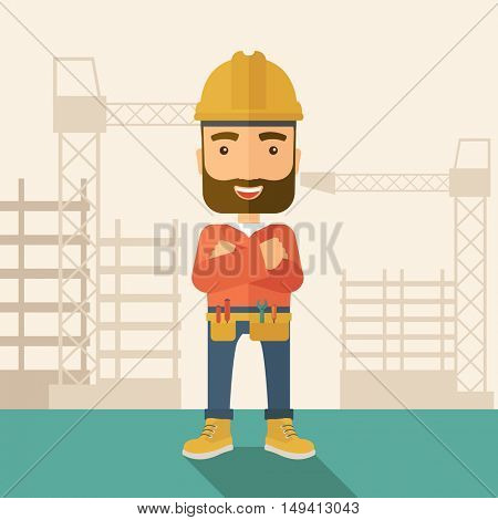 A hipster construction worker wearing hard hat for protection of his head. Working concept. A Contemporary style with pastel palette, soft beige tinted background. flat design illustration. Square