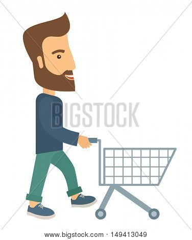A handsome guy pushing an empty cart. A contemporary style. flat design illustration with isolated white background. Vertical layout