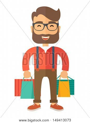 A funny businessman with shopping bags. A contemporary style. flat design illustration with isolated white background. Vertical layout.