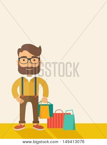 A man who go shopping with paper bags. A Contemporary style with pastel palette, soft beige tinted background. flat design illustration. Vertical layout with text space in right side.