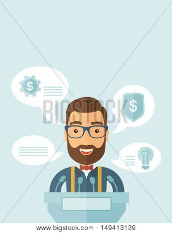 A Caucasian speaker stands behind a podium with microphones makes a business report  and marketing strategy inside the conference room. Presentation, reporting concept. A contemporary style with