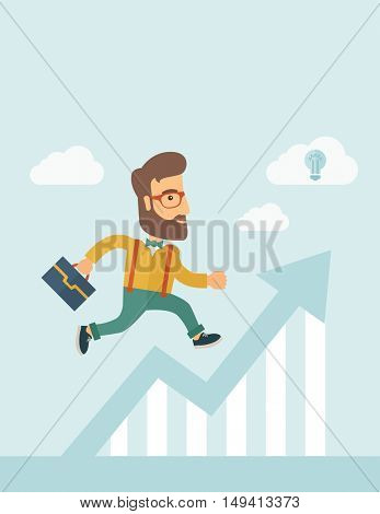 The businessmen with beard is running over growing chart. Perspective Idea concept.  flat design Illustration. Vertical layout with a text space in a top.