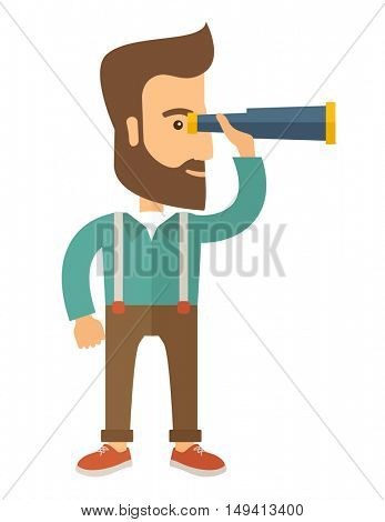 A Caucasian with beard with binocular looking for something. A Contemporary style. flat design illustration with isolated white background. Vertical layout.