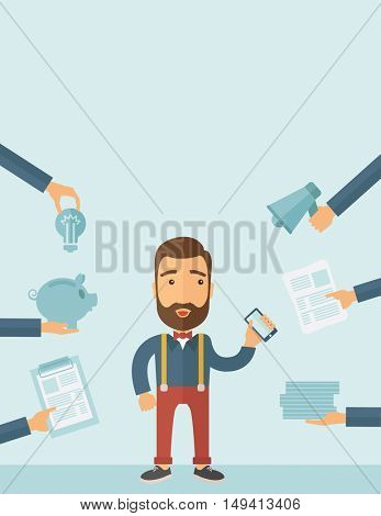 Man with smartphone in hand has a lot of of task and paperwork suitable for time management business concept. A contemporary style with pastel palette, soft blue tinted background. flat design