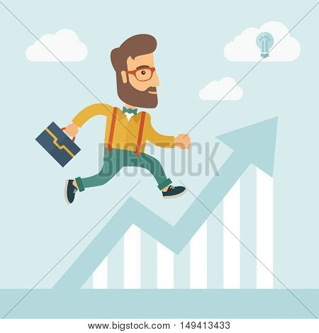The businessmen with beard is running over growing chart. Perspective Idea concept.  flat design Illustration.