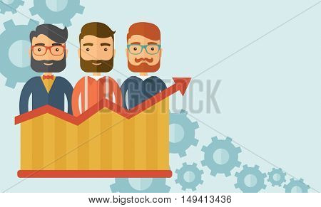 Three businessmen with beards over growing chart. Perspective business concept.  flat design Illustration. Horizontal layout with a text space in a top right corner.
