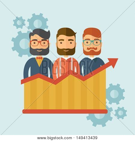 Three businessmen with beards over growing chart. Perspective business concept.  flat design Illustration.